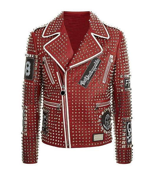 Amazon.com: Chaqueta de piel para hombre con diseño de punk ...