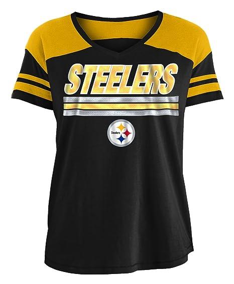 81c66c26c Amazon.com : New Era Pittsburgh Steelers Women's NFL Field Goal V-Neck  Short Sleeve Shirt : Clothing