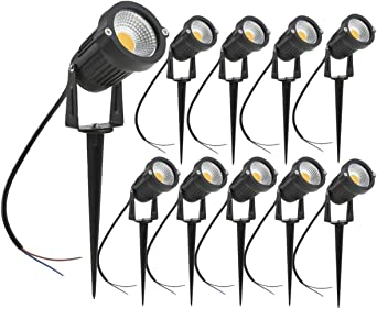 Pack de 10 Foco LEDs con Pincho para Blanco Cálido Jardín 5W 220V Luz LED para Exteriores: Amazon.es: Iluminación