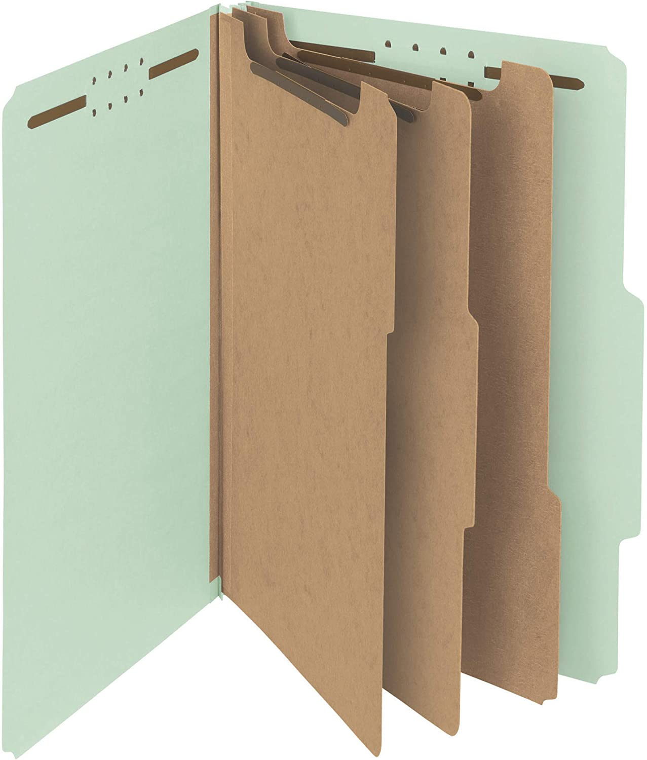 """Smead 100% Recycled Pressboard Classification File Folder, 3 Dividers, 3"""" Expansion, Legal Size, Gray/Green, 10 per Box (19093)"""