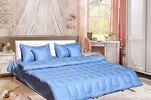 Hotel 6Pcs Stripe Comforter Set, King Size, Blue, Poly Cotton