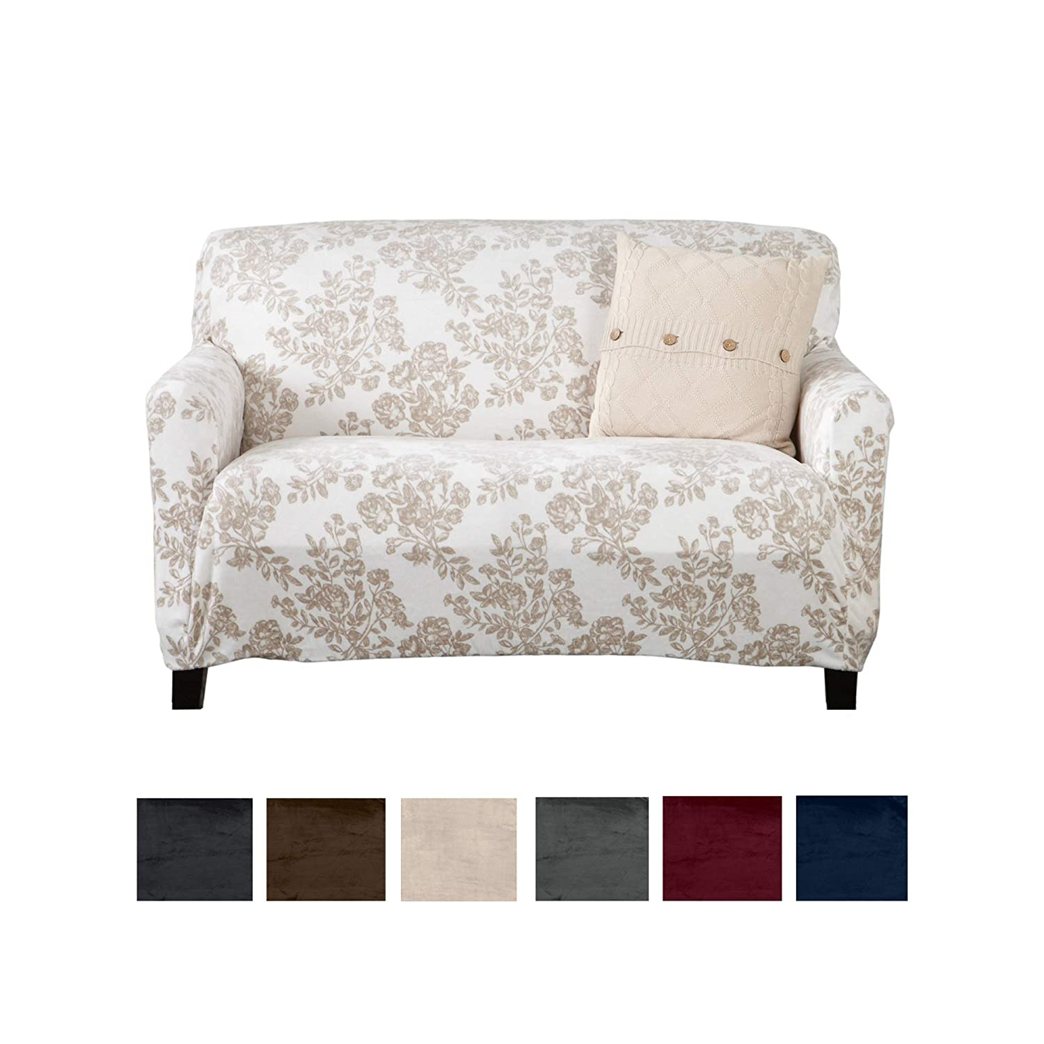 Great Bay Home Modern Velvet Plush Love Seat Slipcover. Strapless Loveseat Cover, Stretch Slipcover for Loveseat, Soft Love Seat Cover for Living Room. (Love Seat, Silver Cloud - Toile)