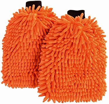 Orange Wash Glove Ultimate Car Wash Mitt Premium Chenille Microfiber Wash Mitt