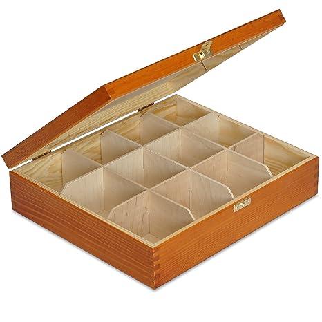 Aliso Caja para Té Bolsita Madera | 12 Compartimentos | 29 x 25 x 7,