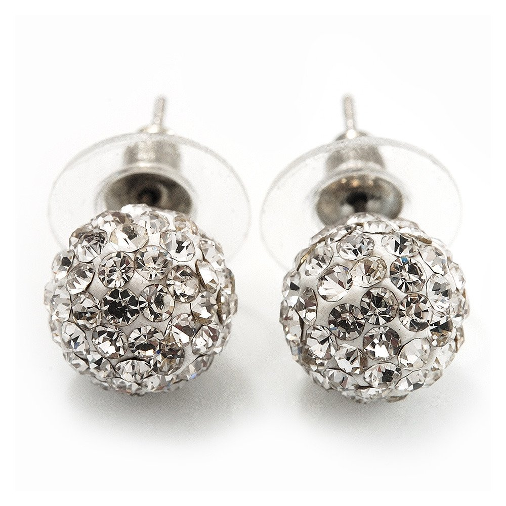 100% original hot-selling biggest discount Clear Swarovski Crystal Ball Stud Earrings In Silver Plated Finish - 9mm  Diameter