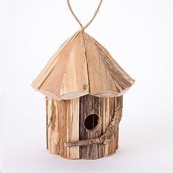 Cabane à oiseaux, nichoir en bois forme ronde avec branche ...