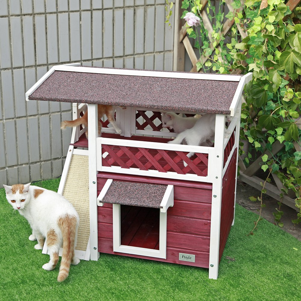 Petsfit 2-Story Outdoor Weatherproof Cat House/Condo/Shelter with Scratching Pad 30''x22''x29''