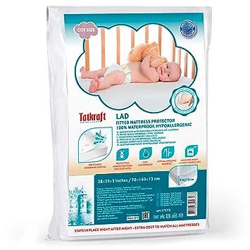 Tatkraft Lad Protector de Colchon Ajustable Impermeable para Cuna, Transpirable, Hipoalergenico, Antiacaros,