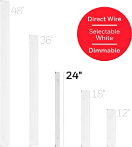Honeywell 24in. Direct Wire Fixture, White, Selectable Brightness, LED Strip, Under Cabinet, Accent, Kitchen Light, 45368, 24