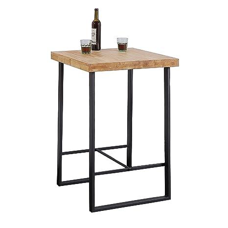 Adec - Natural, Mesa Alta de Cocina, Mesa de Bar, Barra acabada en Color Roble Salvaje y Negro, Medidas: 70 cm (Ancho) x 70 cm (Fondo) x 100 cm (Alto)