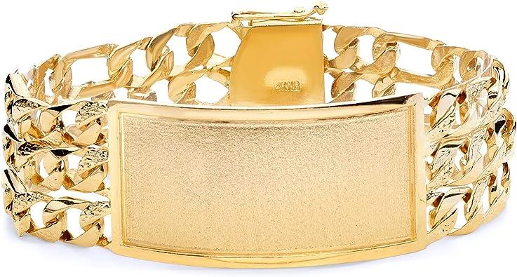 Wellingsale 14k Tri 3 Color Gold Polished Nugget Figaro Link ID Bracelet 6