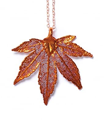 Real leaf necklace - Japanese Maple leaf in iridescent copper. h8a78cdqX