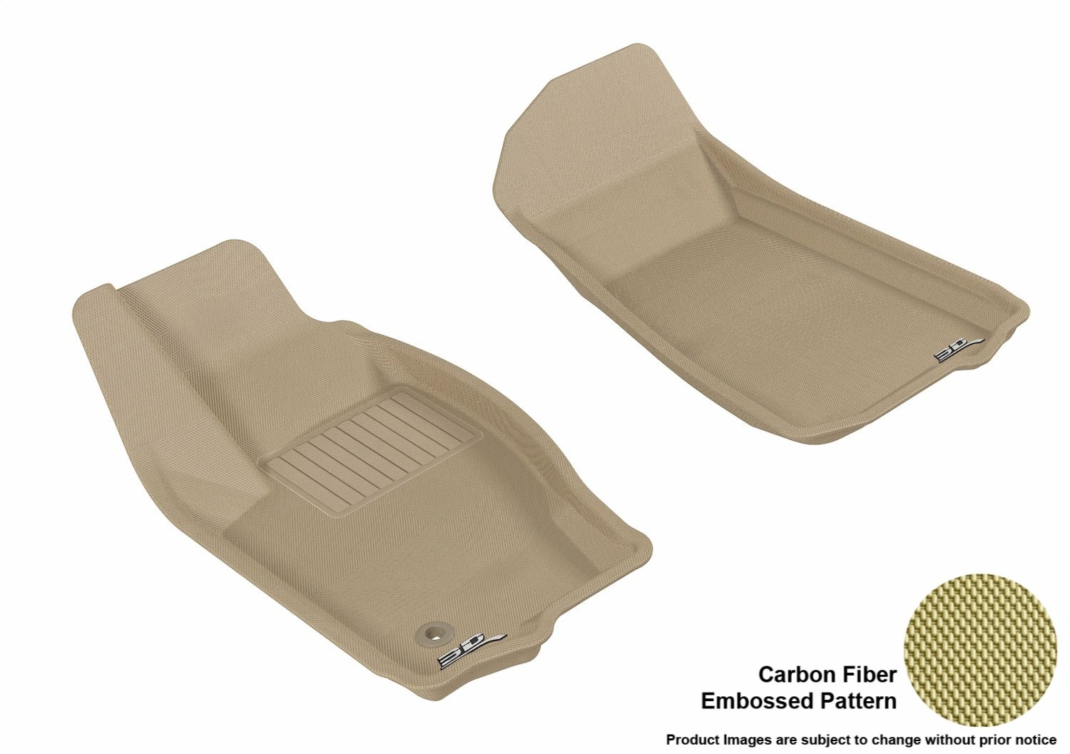 3D MAXpider Front Row Custom Fit All-Weather Floor Mat for Select Jeep Grand Cherokee Models Kagu Rubber Tan