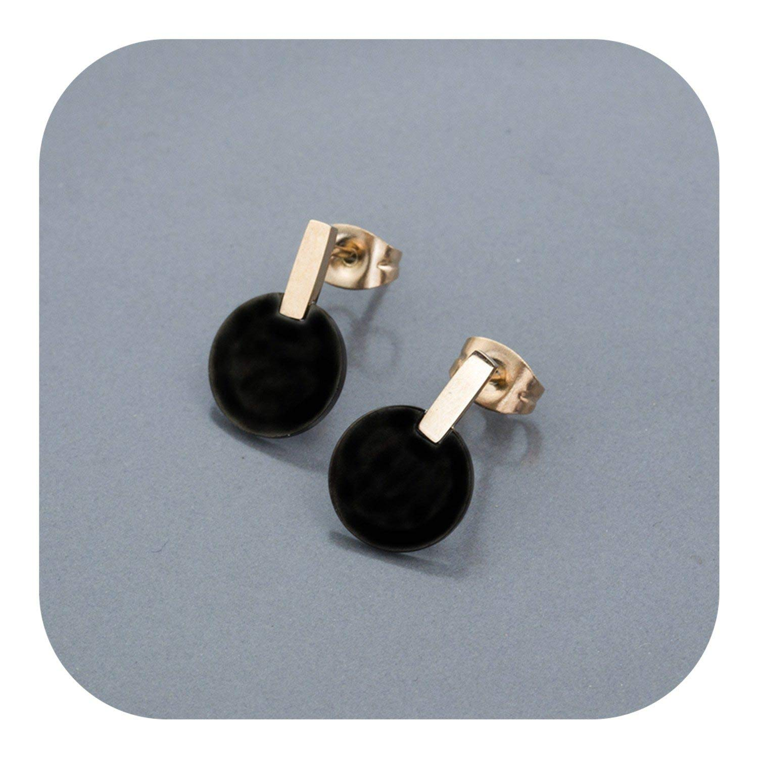 Elegant Black Stud Earrings Rose Gold Color Round Stainless Steel Statement Earrings For Women Girls Party Jewelry Brincos