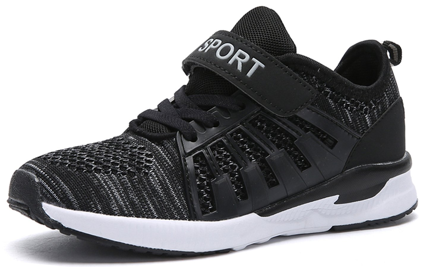SunSunday Toddler Kid's Breathable Boys Girls Running Shoes Black 31