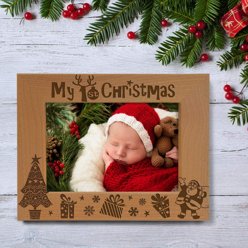 5x7-Vertical - Classic My First Babys 1st Christmas KATE POSH My 1st Christmas Picture Frame New Baby Santa /& Me Engraved Natural Wood Photo Frame