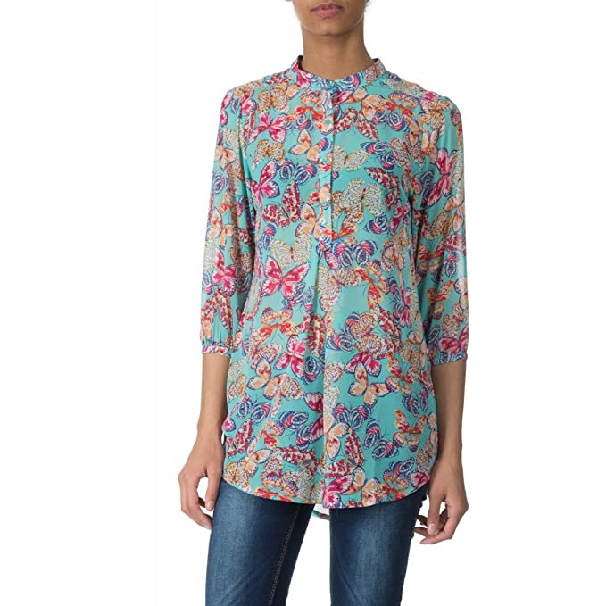 Ideal Shoes Blusa estampado mariposas Sasha azul small