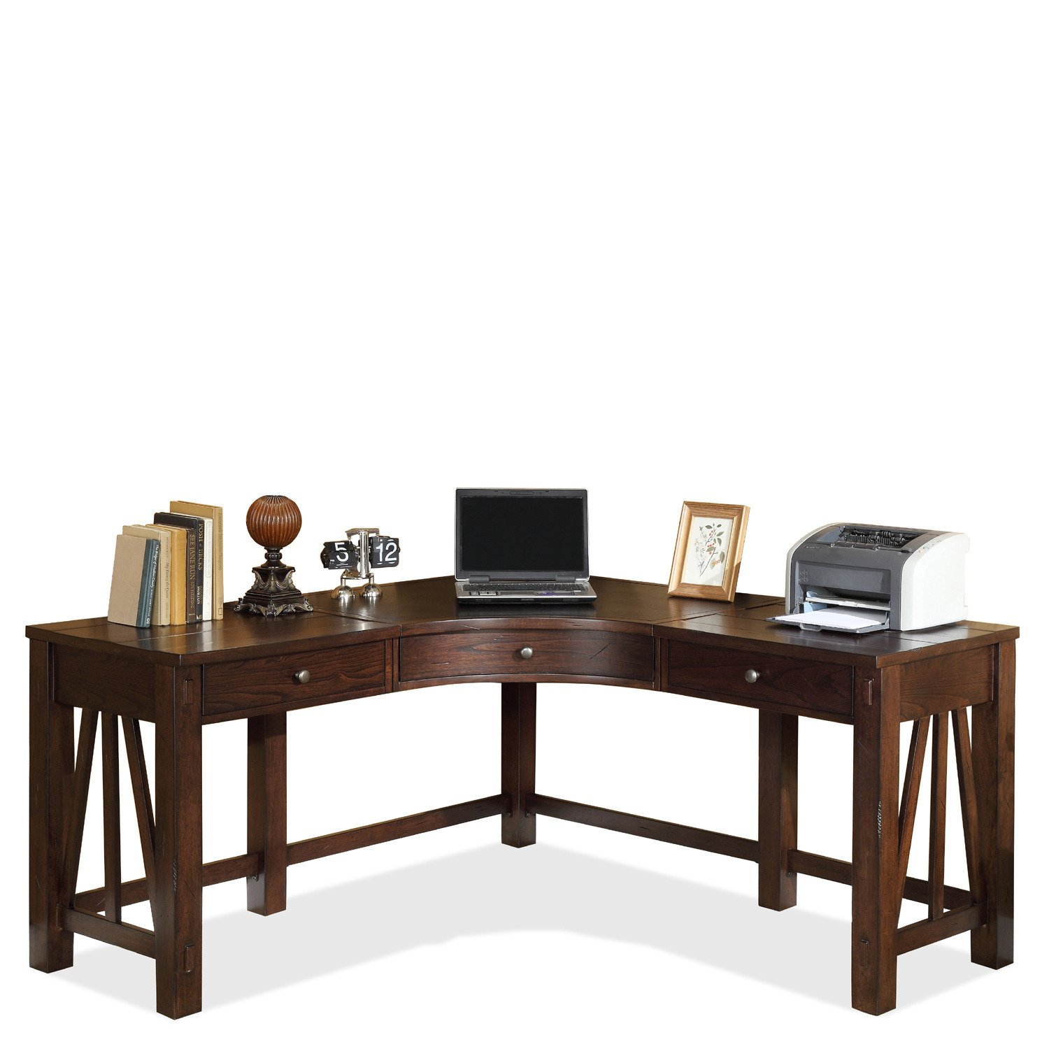 amazoncom riverside furniture castlewood corner desk in warm tobacco kitchen dining