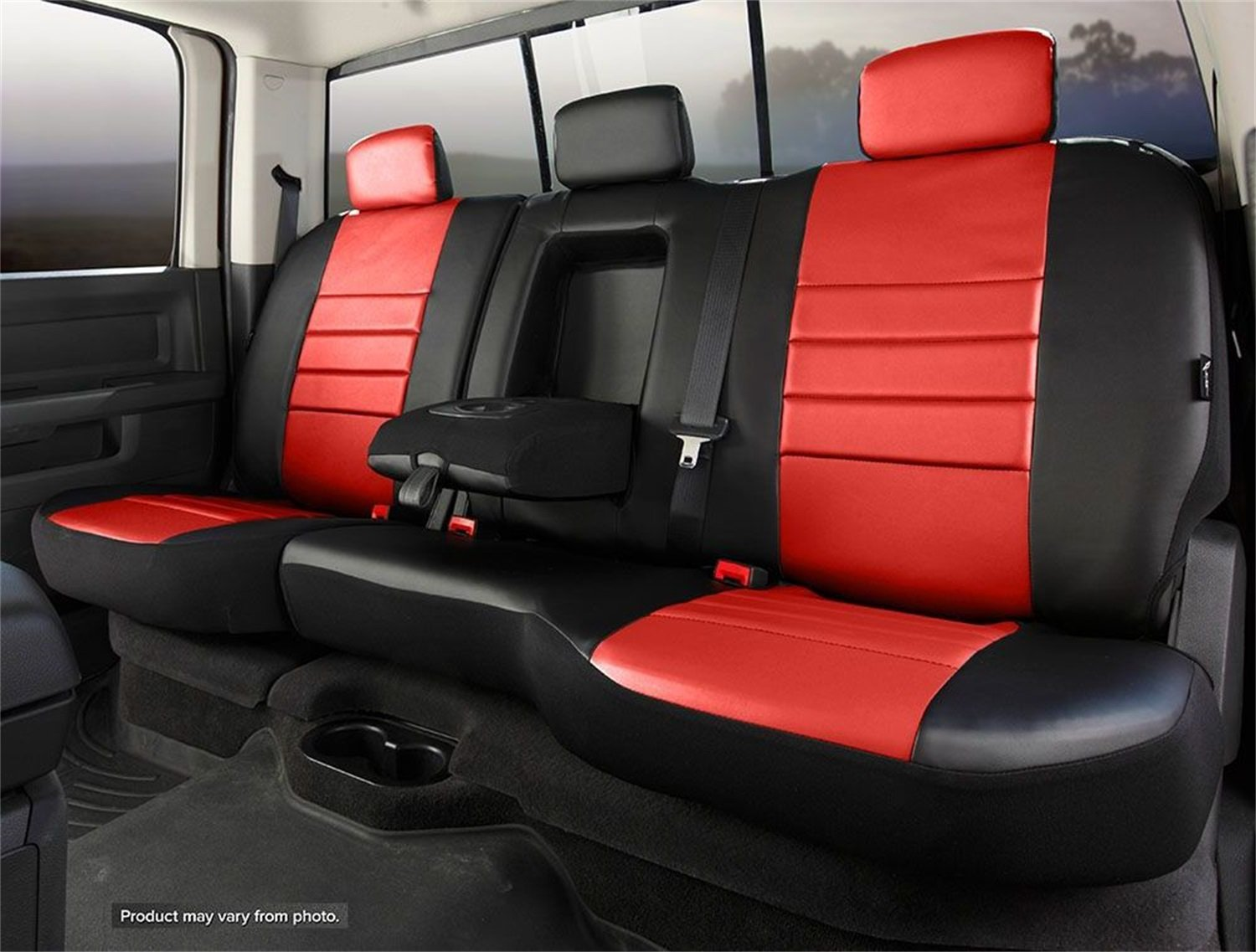 Leatherette, Fia SL62-38 RED Custom Fit Rear Seat Cover Split Seat 60//40 Black w//Red Center Panel