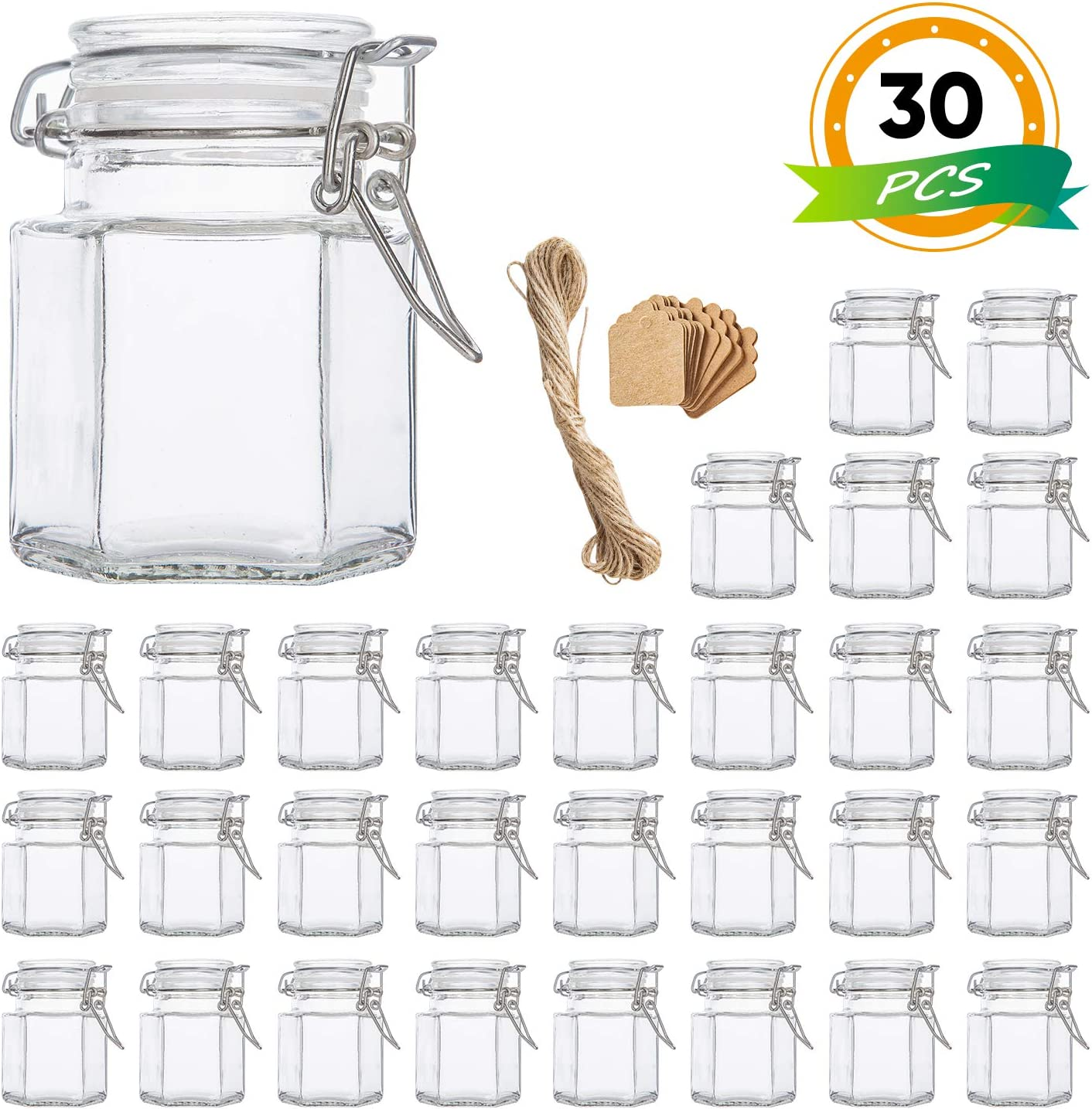 Spice Jars, Flrolove 30 Pack 3.5oz Hexagon Glass Jars with Leak Proof Rubber Gasket & Hinged Lid,Small Glass Containers with Airtight Lids for Home, Party Favors