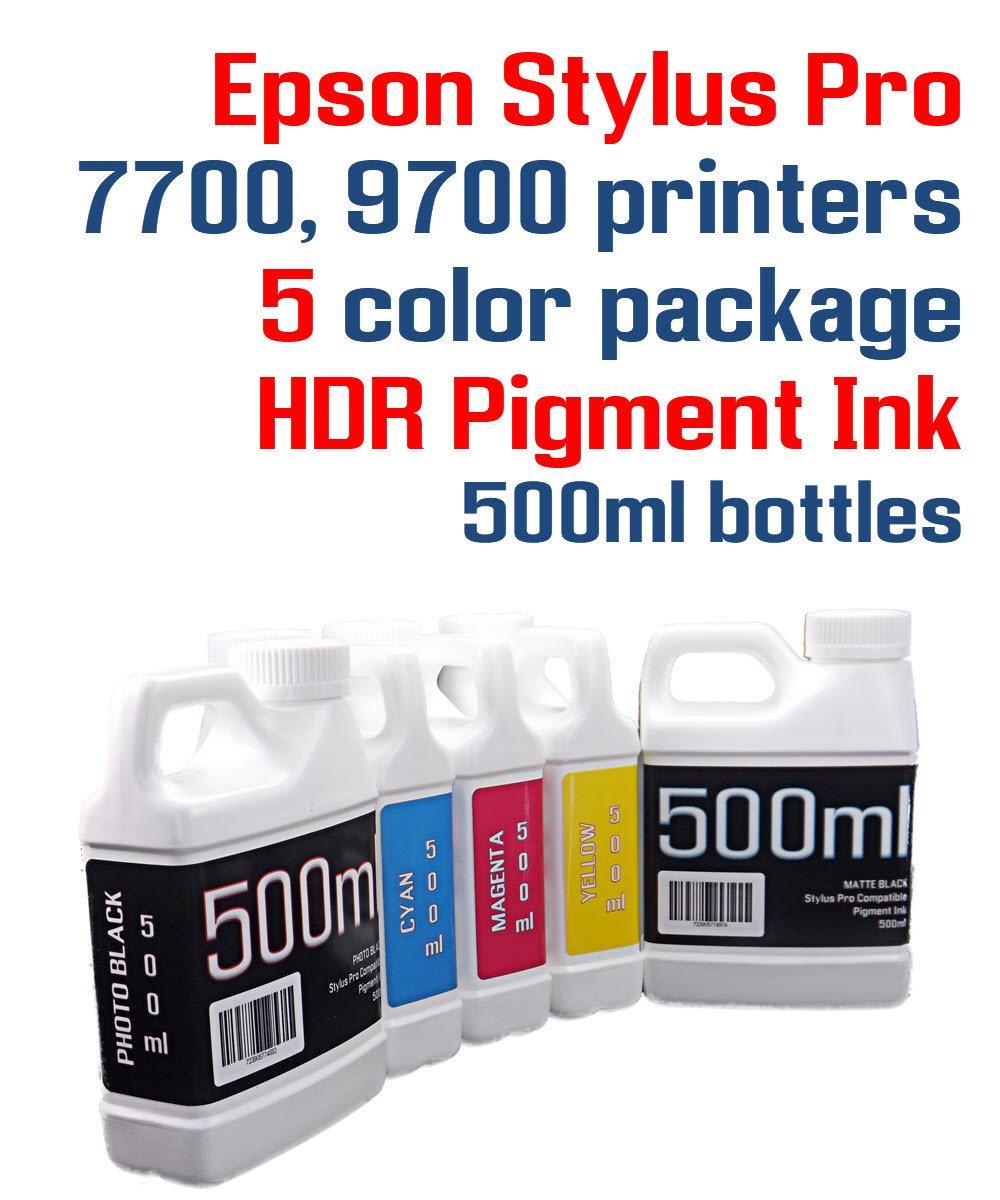 5色パッケージ – HDR顔料インク500 mlボトル互換インク – Stylus Pro 7700 9700プリンタ   B07DRN389T