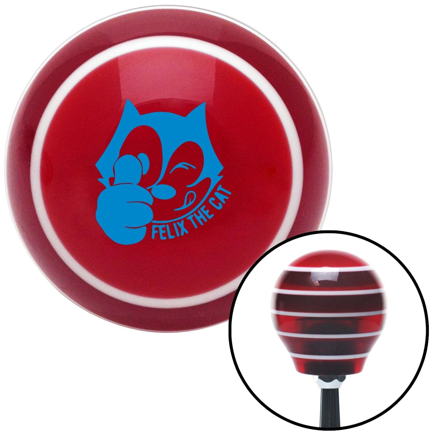 Blue Felix The Cat Thumbs Up American Shifter 116613 Red Stripe Shift Knob with M16 x 1.5 Insert