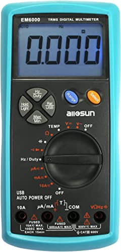 ALLOSUN Handheld Digital Multimeter TRMS Dual Fuse LCD Auto AC DC Volt Meter Ohm Amp Temp Tester Tool with USB Terminal DMM