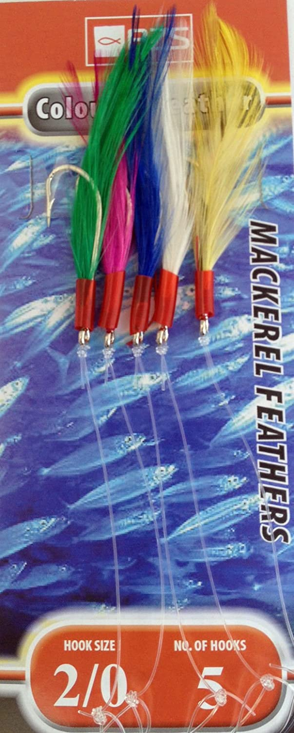 10 Packets of coloured mackerel feathers BZS