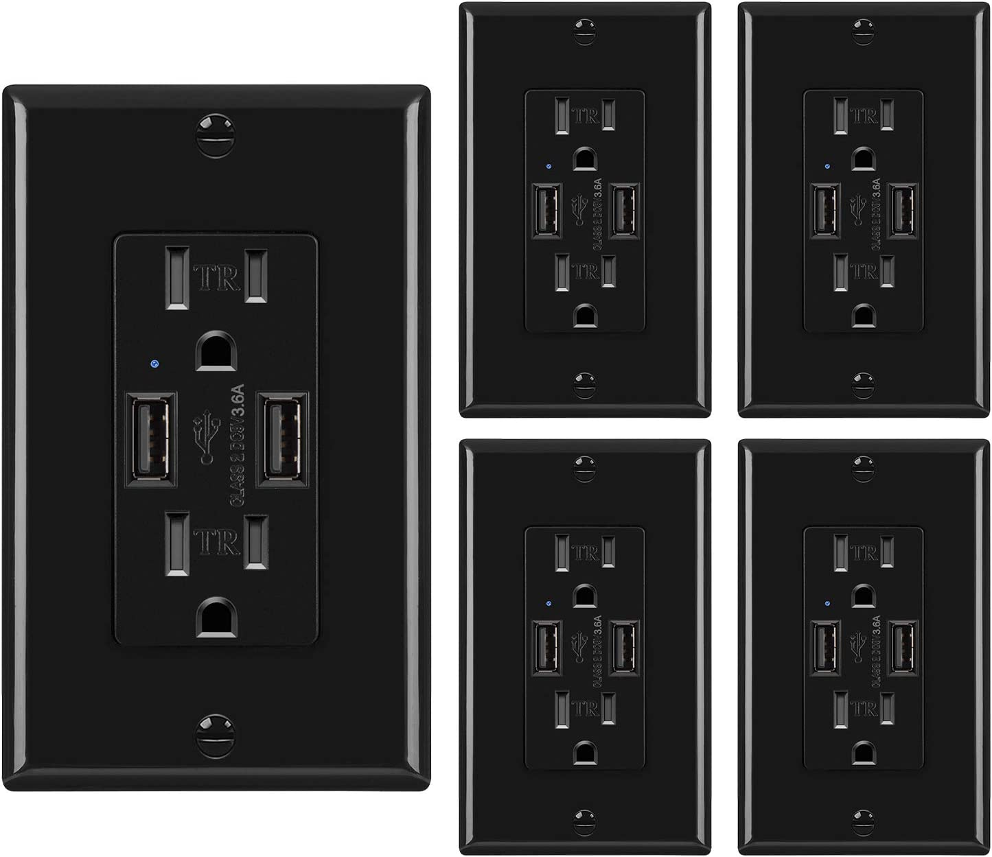 [5 Pack] BESTTEN 3.6A USB Wall Receptacle with 15A Tamper Resistant Outlets, Dual USB Charging Ports for Smartphone, Tablet and Other USB Device, UL Listed, Black