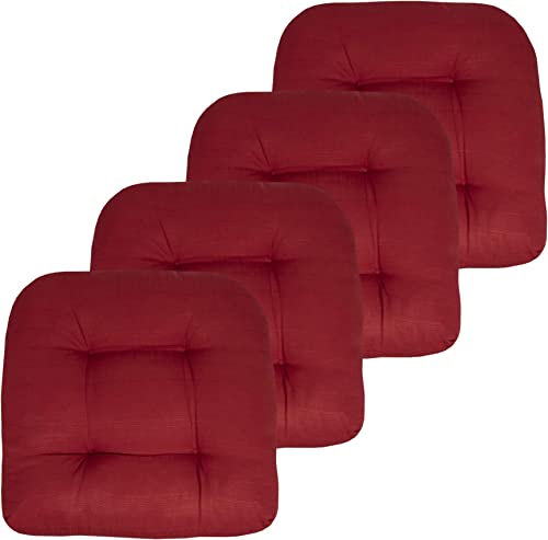 Sweet Home Collection Patio Cushions Outdoor Chair Pads Premium Comfortable Thick Fiber Fill Tufted 19″ x 19″ Seat Cover