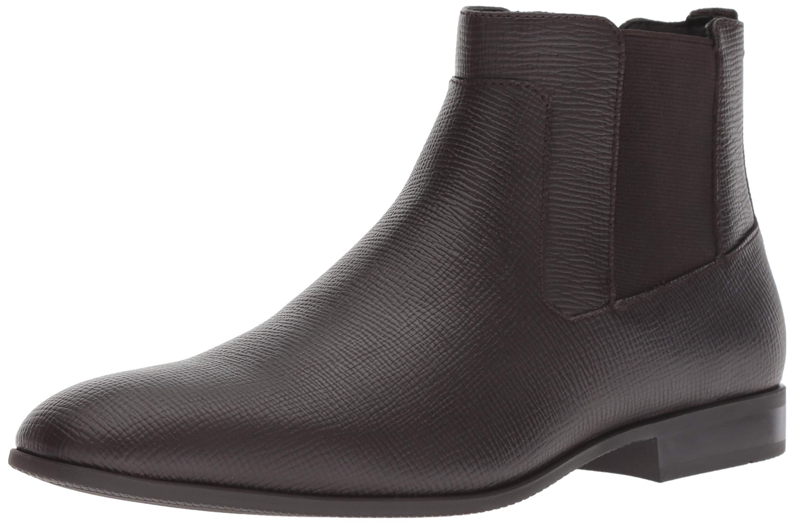 Calvin Klein Men's CHRISTOFF Chelsea Boot Dark Brown Epi Leather 10 M M US