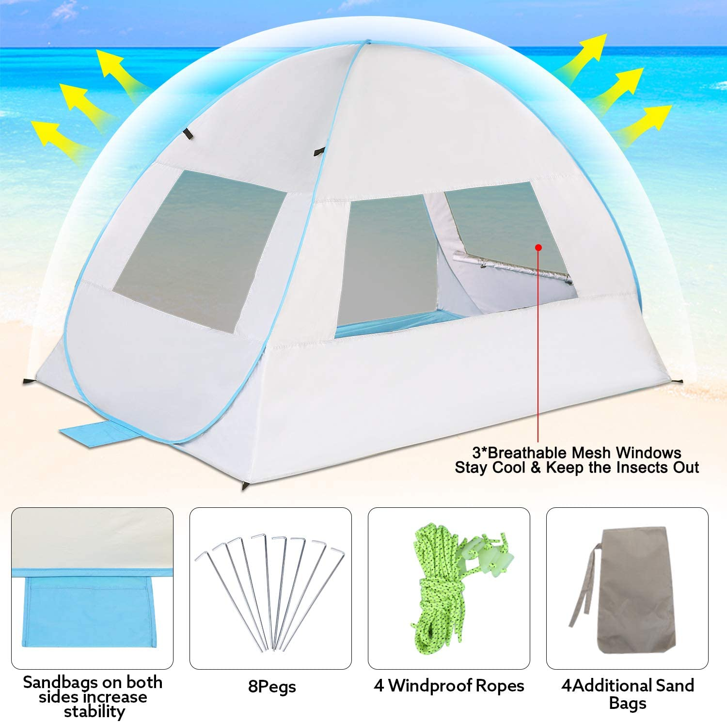 G4Free Pop Up Beach Tent Portable Sun Shelter Instant Outdoor Camping Cabana