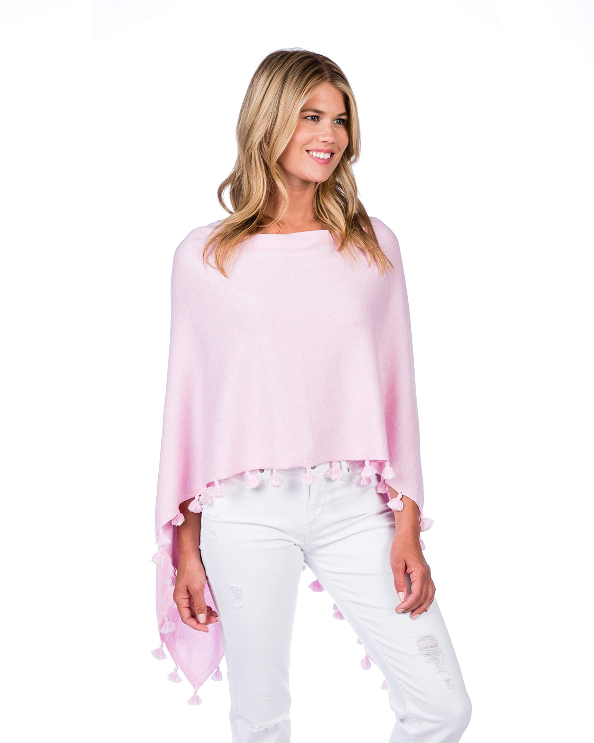 Caroline Grace by Alashan Cashmere Blend Tassel Trim Dress Topper - Bermuda Pink