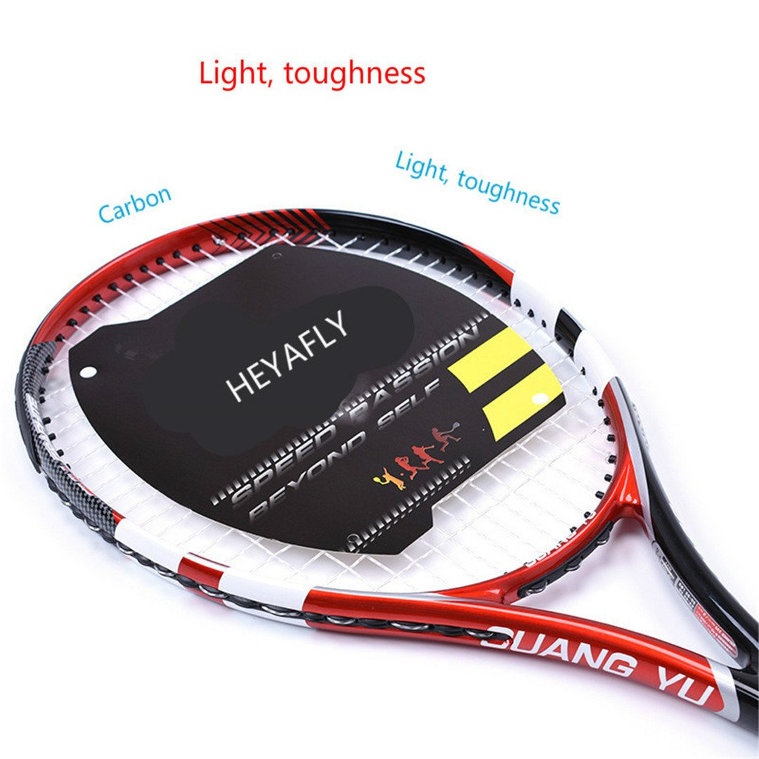 Taiwanrns 超軽量カーボンネットラケット カーボンファイバー テニスラケット プロフェッショナル競技レベルのテニスラケット ギフトラケットバッグ レッド