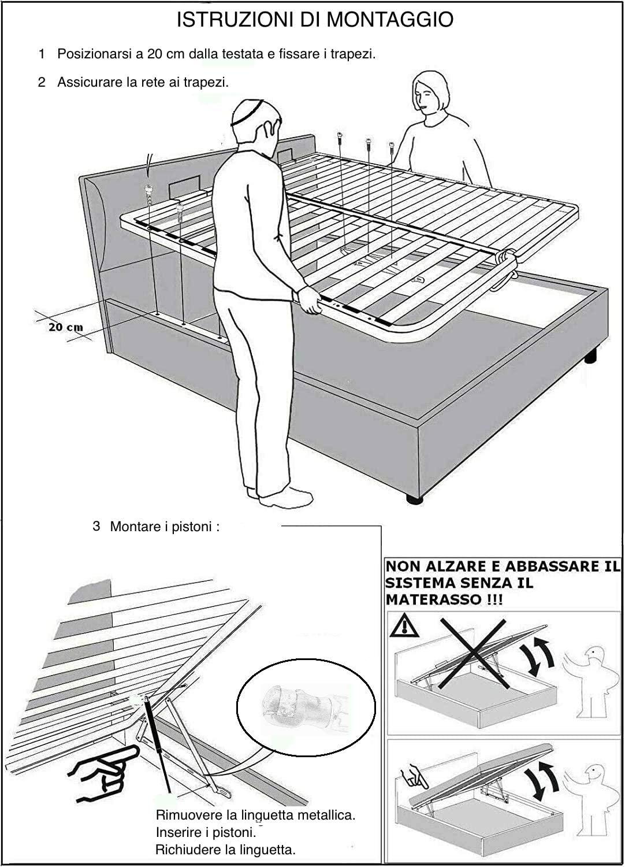 MADE IN ITALY Kit MECCANISMO ALZARETE Sollevamento per Letto Contenitore