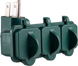 PHILIPS 3 Outlet Weatherproof Grounded Adapter, Heavy Duty Wall Tap with Covers, Indoor/Outdoor, Green, SPS1631G/37