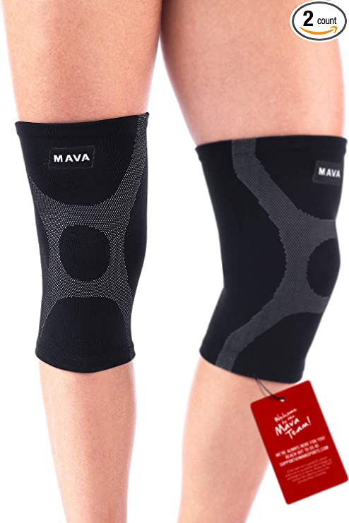 67fb13e167 Mava Knee Support Compression Sleeves (Pair) for Running, Jogging,Workout,  Walking, Hiking & Recovery - Improved Circulation Compression for Joint  Pain and ...