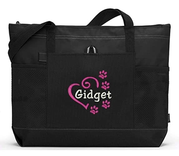 bd74a254c2d7 Amazon.com: Personalized Dog Embroidered Tote Bag, Pet Gear Travel Bag:  Handmade