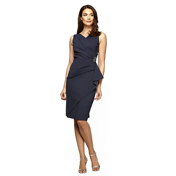 c59885fa63 Alex Evenings Women s Slimming Short Ruched Dress with Ruffle Skirt (Petite  and Regular Sizes) at Amazon Women s Clothing store