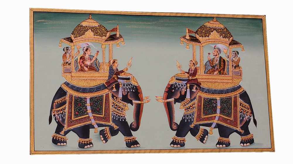 Mughal Miniature Royal Art Handmade Ambabari Elephant Stonecolor Ethnic Painting Lively to Decor Your Home Hotel Office Bedroom Lobby or Living Room by Handmade (Image #4)