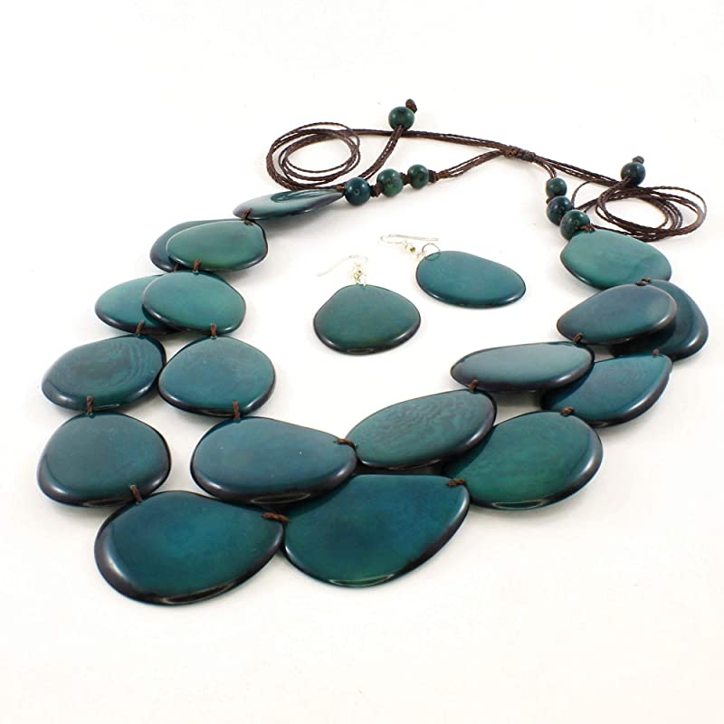 Earrings and Bracelet Handmade Tagua Nut black Necklace Necklace Set Great Gift