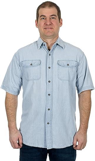 4509103d9da Jaguar Men s Light Blue Denim Short Sleeve Button Down Shirt (Small ...