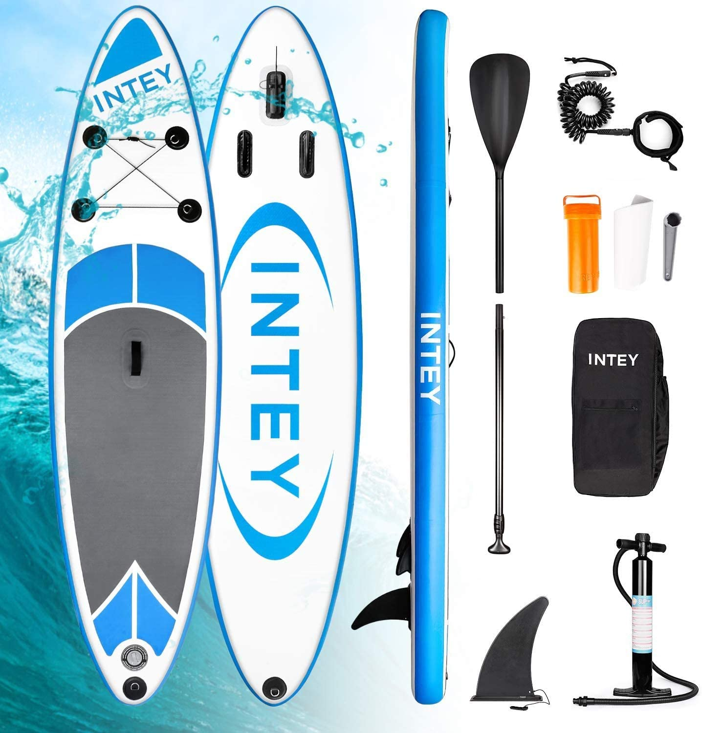 INTEY Tabla Paddle Surf Hinchable, Sup Paddle Remo Ajustable, Tabla Stand Up Paddle Board, Bomba de Doble, Seguridad