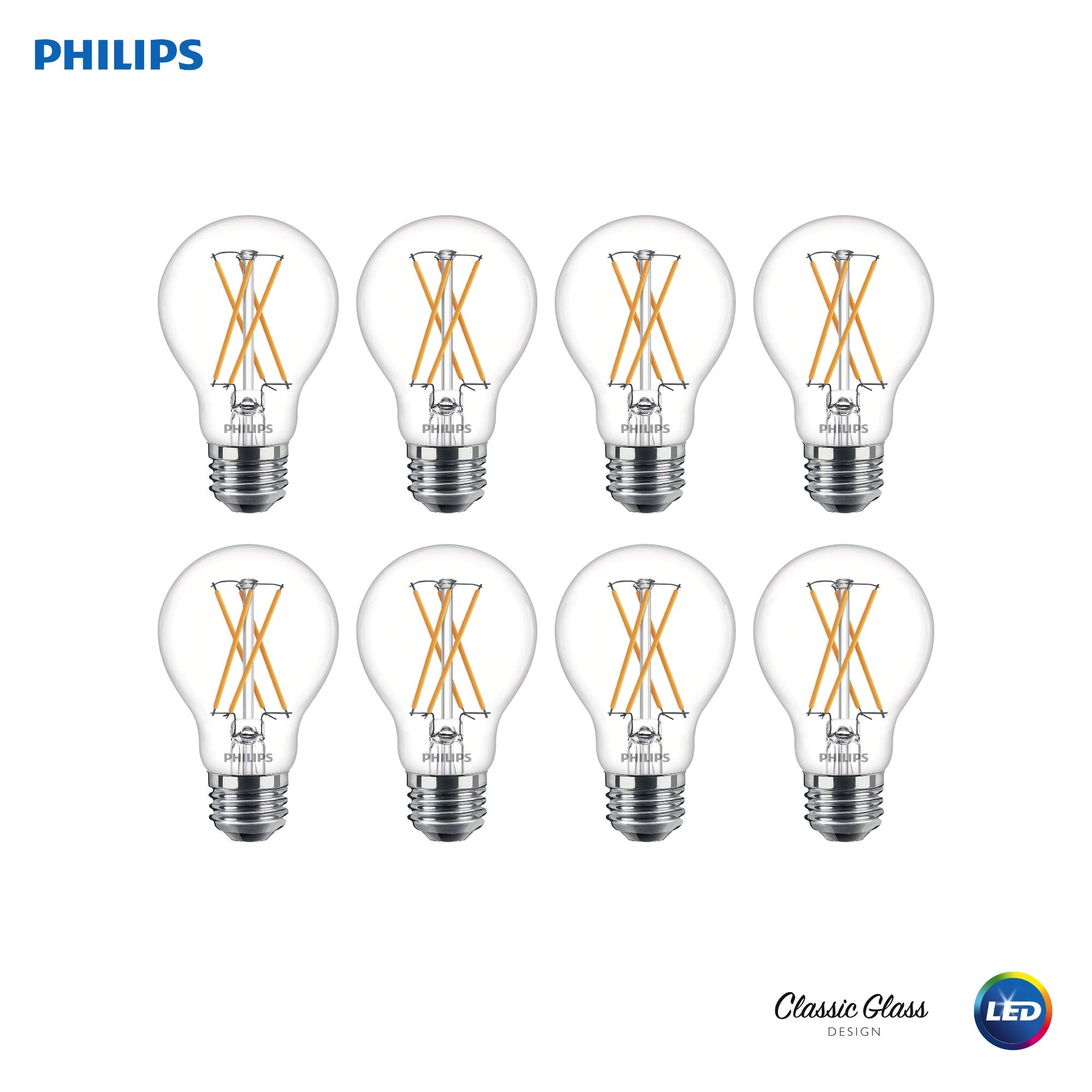 Philips 536532 LED Dimmable A19 Clear X-Filament Glass Light Bulb with Warm Glow Effect: 800-Lumens, 2700-Kelvin, (60-Watt Equivalent), Soft White, E26 Medium Screw Base, 8 Pack, Piece