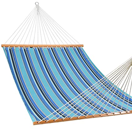 Lazy Daze Hammocks Sunbrella Fabric Hammocks with Spread Bar and  Handcrafted Polyester Rope for Two Person, All Weather Fade Resistant,  Dolce Oasis