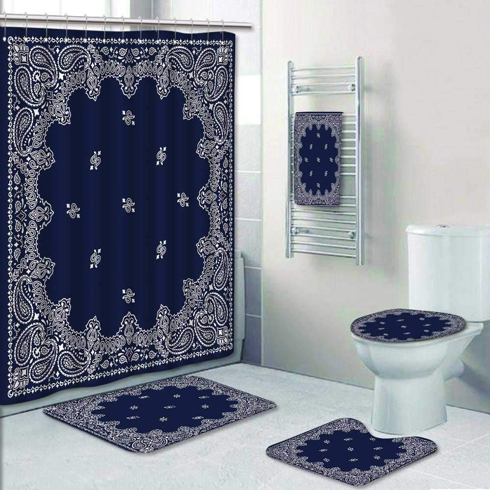 Philip-home 5 Piece Banded Shower Curtain Set Bandana bleu Shower Curtain/Toilet seat/Bath Towel by  (Image #1)