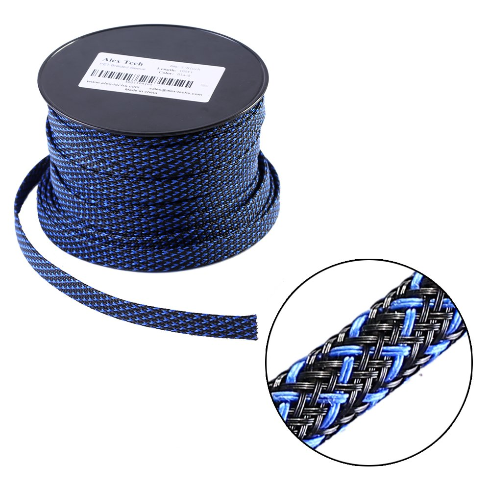 100ft - 1/2 inch Flexo PET Expandable Braided Sleeving – BlackBlue – Alex Tech Braided Cable Sleeve