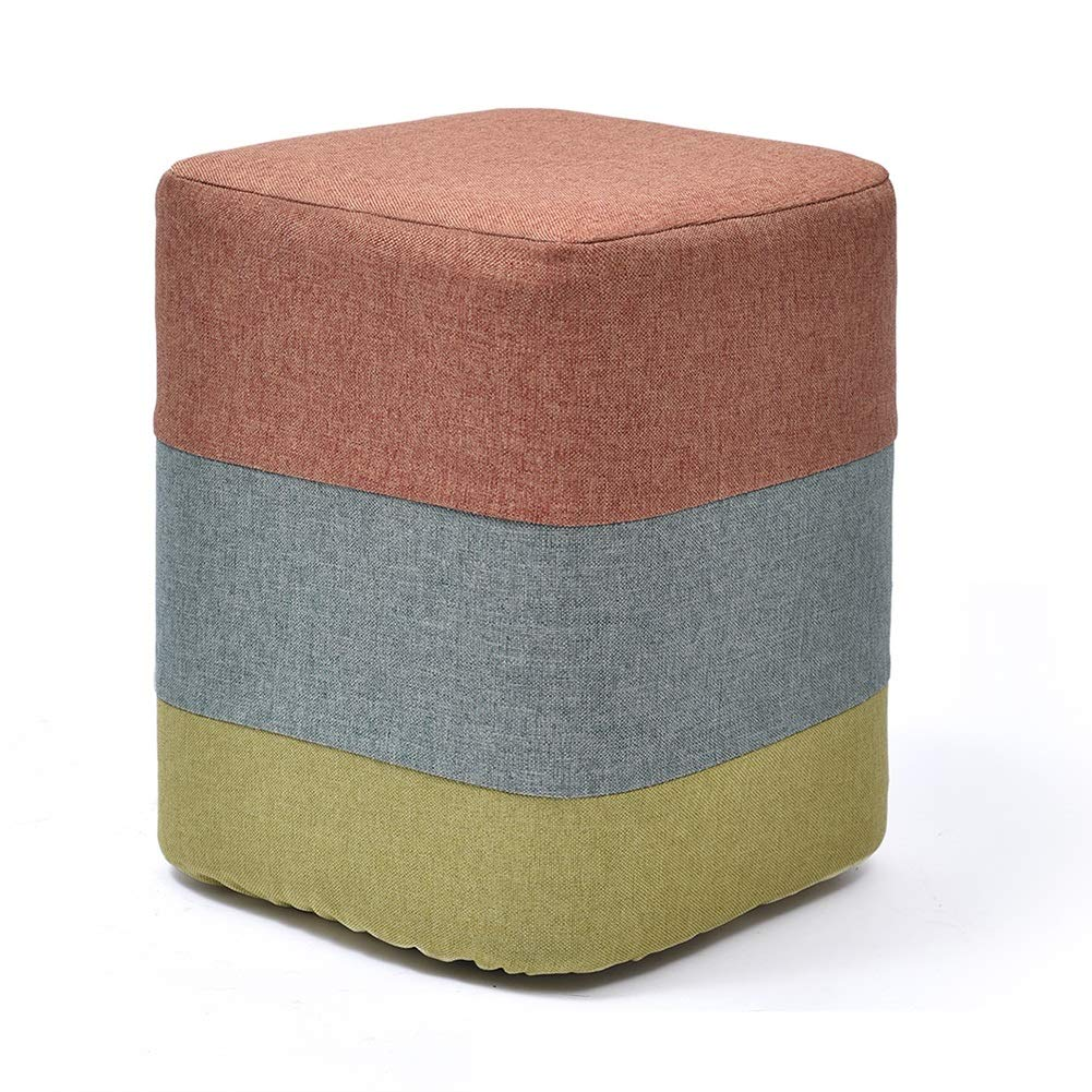 LFF Foot Stool Wooden House Creative Small Square Fabric Footstool with Beech Legs for Living Room (Color : Orange)