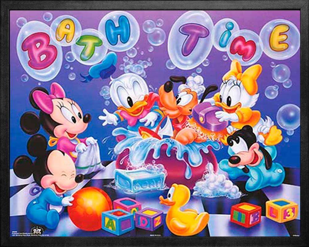 "Bruce Teleky Walt Disney Poster Babies: Bath Time Framed Children's Movie Print Poster Custom Made Real Wood Modern Charcoal Frame (21 1/8 x 17 1/8"")"
