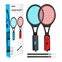 Tennis Racket for Nintendo Switch - innoAura Tennis Racket for Joy-Con Controllers for Mario Tennis Aces Game (2Pcs, Black)